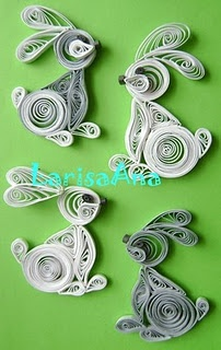 quilling - bunnies ... arent they adorable! -Would look cute on Easter card or attached to Easter basket