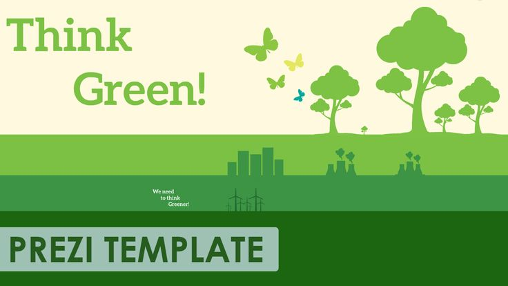 Prezi Template for a green-thinker.  Trees, nuclear power plant, wind turbines, butterflies and skyscrapers in various shades of green.  Use the separated elements and create the design layout you need!  A good template for a nature, pollution, green-energy related presentation.