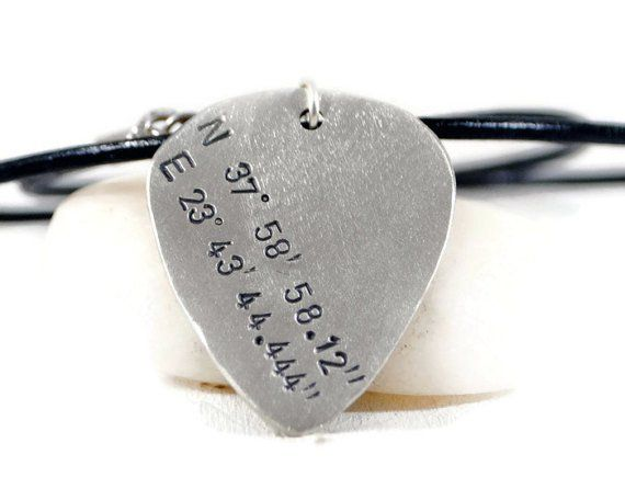 Custom Coordinates Sterling Silver Guitar Pick Leather Necklace. Mens Engraved Silver Guitar Pick. Men's Latitude Longitude Necklace.