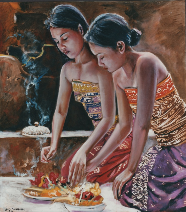 Balinese girls offering 120x100cm oil on canvas