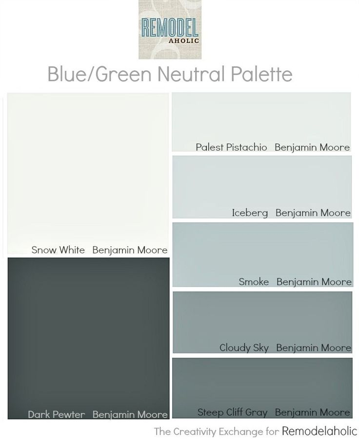 Easy paint color strategy for the whole home blue/green neutral palette: BM palest pistachio, BM iceberg, BM smoke, BM cloudy sky, BM snow white, BM steep cliff gray, BM dark pewter... I have several of these in my home already! love it.