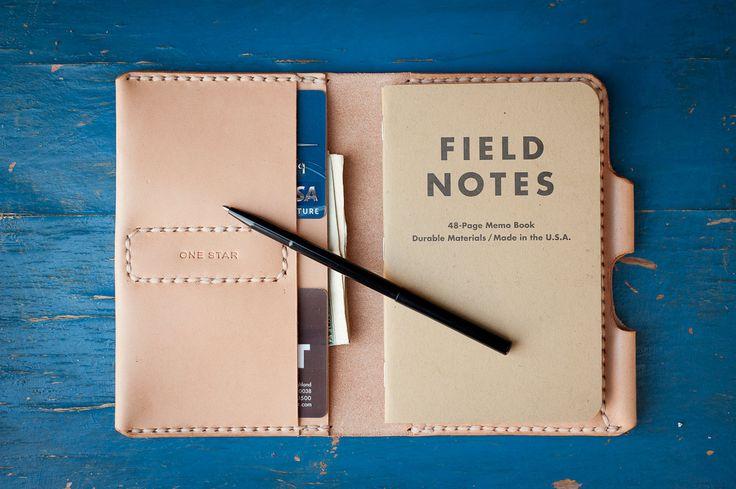 """Field Notes Wallet, """"The Original Park Sloper, Sr."""" hand stitched natural leather wallet / Moleskine notebook & pen - via Etsy."""