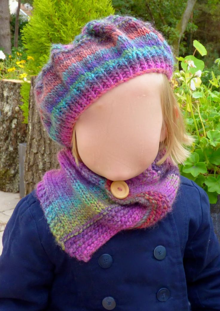 béret et col tricot - tuto gratuit en français, débutant, facile, enfant, fille knit hat, knit snood, easy free tutorial, girl great