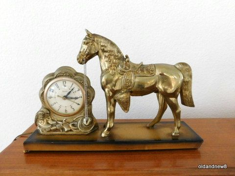 Vintage Clock with Horse United Electric Clock by oldandnew8