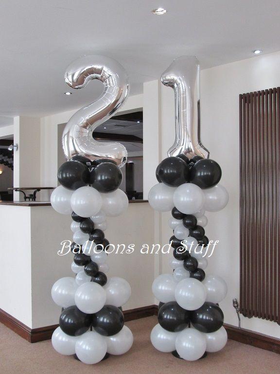 Birthday Foil Number Balloon Floor Columns