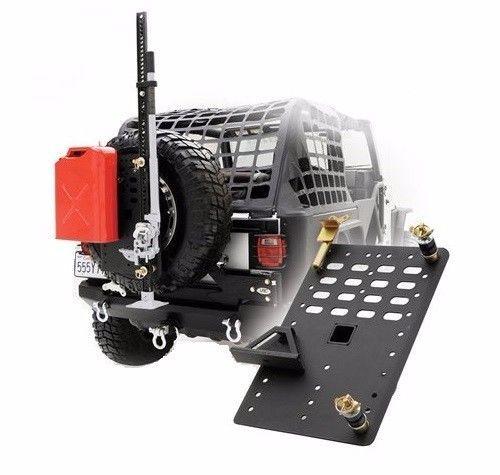 Smittybilt-I-Rack-Tire-Carrier-Modular-Rack-System-w-Jack-Gas-Can-Mounts-2740