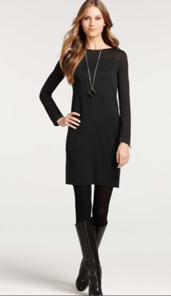 I love this look for work - classic black dress, black tights, and boots. I especially love the neckline on the dress, the long sleeves, and the length (not too short - still looks polished and professional) ann taylor dress. $98. long necklace.