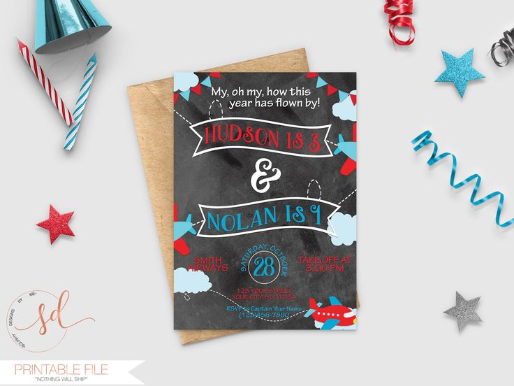 17 best hot air balloon theme party decor and ideas images on airplanes birthday invitation multiples joint party invite twins airplane party take flight filmwisefo Choice Image