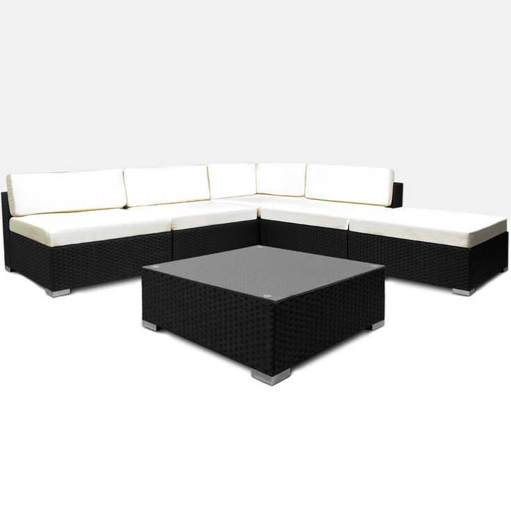 Simple POLY RATTAN Garden furniture set Lounge outside Flexibly binable