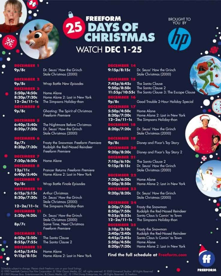 Freeform's 25 Days of Christmas schedule 2019 (With images