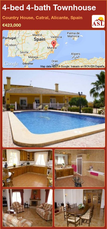 4-bed 4-bath Townhouse in Country House, Catral, Alicante, Spain ►€423,000 #PropertyForSaleInSpain