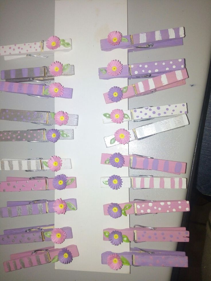 Baby shower pegs, with quilling flowers and fridge magnet