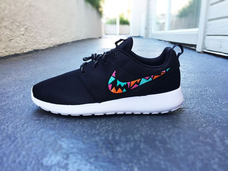 Womens Custom Nike Roshe Run sneakers, triangle tribal design, hot pink, teal and orange, trendy fashion design, cute womens shoes