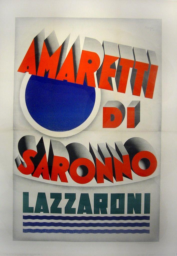 Vintage Italian Posters ~ #Italian #vintage #posters ~ 1932 Original Italian Art Deco Poster, Amaretti Di Saronno -Marchesi