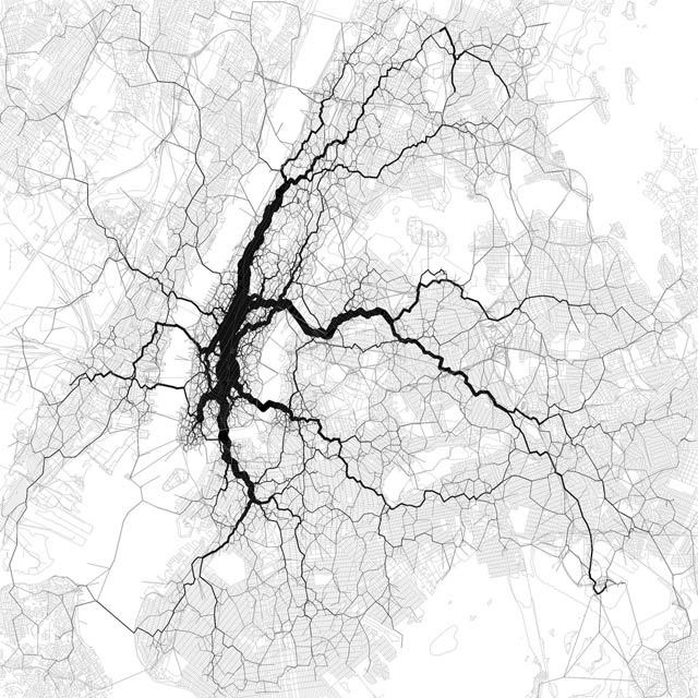 """Map by Eric Fischer    Map showing Twitter traffic based on location, noting, """"Broadway as the spine is not difficult to believe. Data from the Twitter streaming API (10000 points, 30000 vectors). Base map from OpenStreetMap, CC-BY-SA."""""""