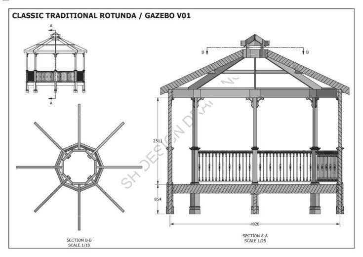 2d 3d Building Classic Design Details Full Gazebo Octagonal Pergola Plans Plans Rotunda Unique V1 Details About Classic Rotunda Gazebo Unique Des
