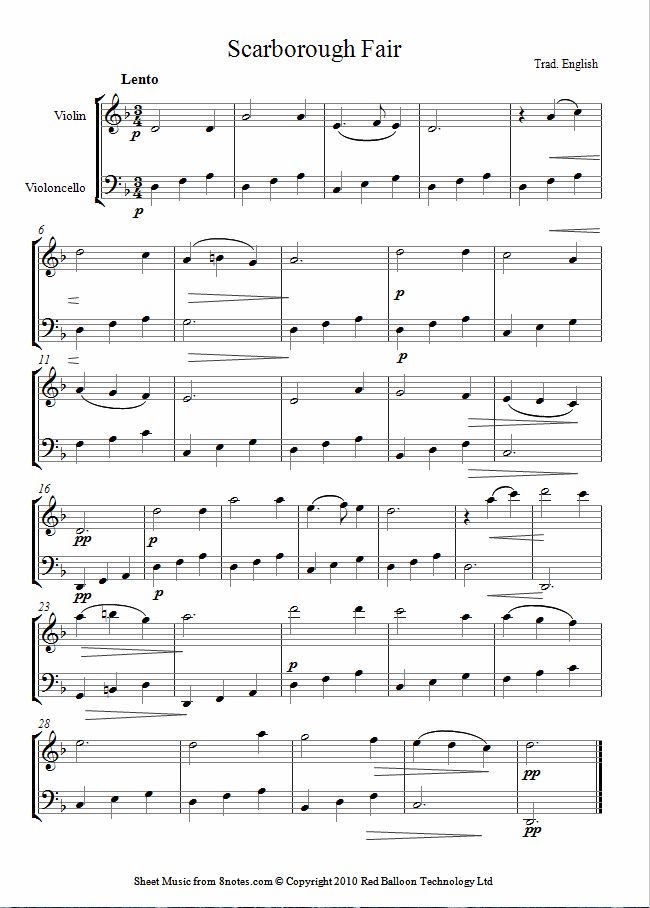 Scarborough Fair sheet music for Violin-Cello Duet
