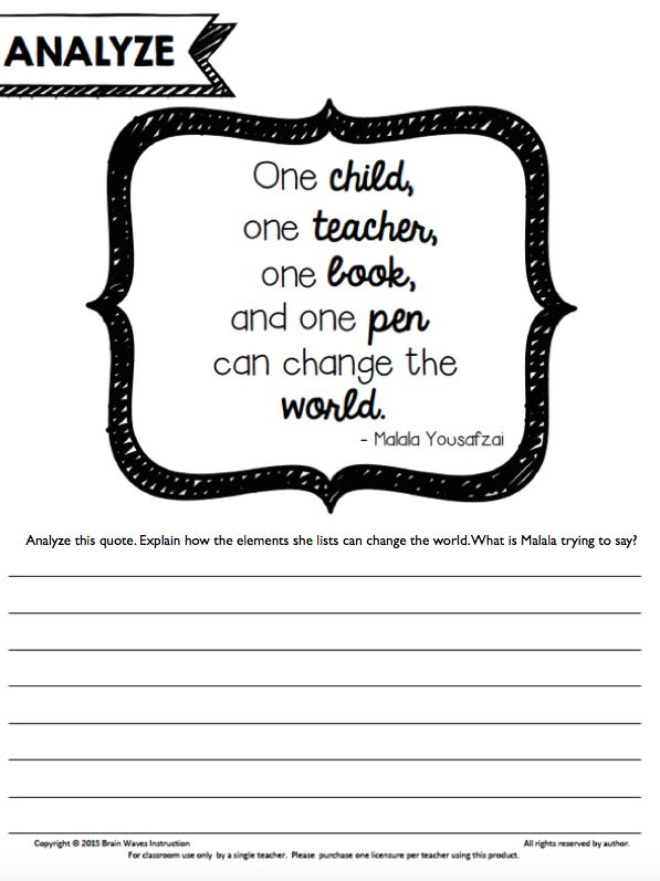 "FREEBIES: Malala Yousafzai Classroom Activities. Quote analysis. ""One child, one teacher, one book, and one pen can change the world"" Malala Yousafzai"