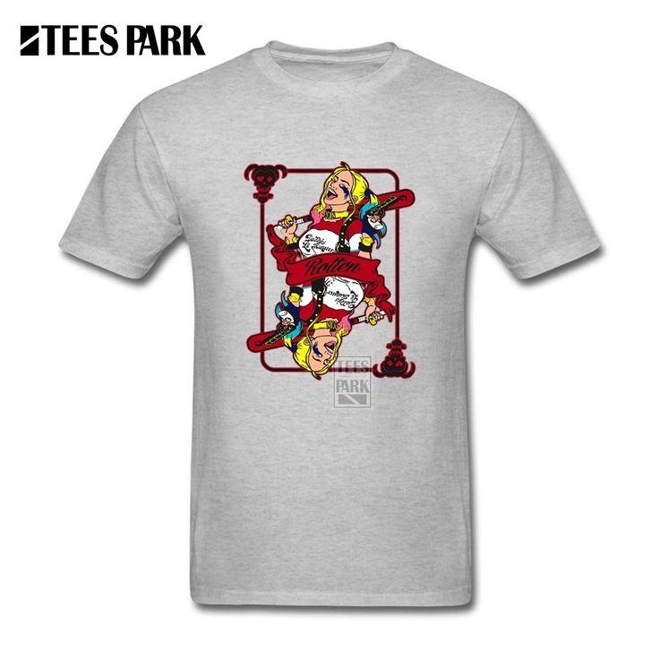 Harley Quinn Joker Men Rotten card Tee Shirt Basic T Shirt O Collar Tops 100% Cotton Short Sleeved 100% Cotton Tee Shirt #Affiliate