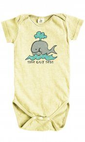 """Save our Seas on Hemp Snappie.  Our fun little whale looks like it is drawn by a child and reminds us to """"Save our Seas"""".  On our hemp/organic cotton clay-dyed snappie. Your infant is going to look cute and cool in this garment!  55% Hemp / 45% Organic Cotton Jersey. Made in the USA.  $19.95 #madeintheusa: Childrens Garments"""
