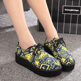 Japanese Harajuku Blue Drawings Yellow Platform Creepers Shoes Ver.3 SD00174