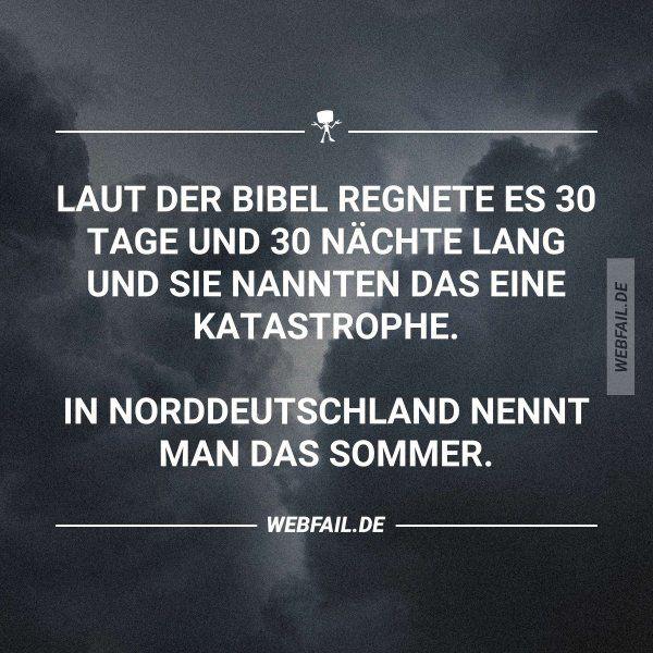 Laut der Bibel regnete es 30 Tage und 30 Nächte lang und sie nannten es eine Katastrophe. In Norddeutschland nennt man das Sommer.