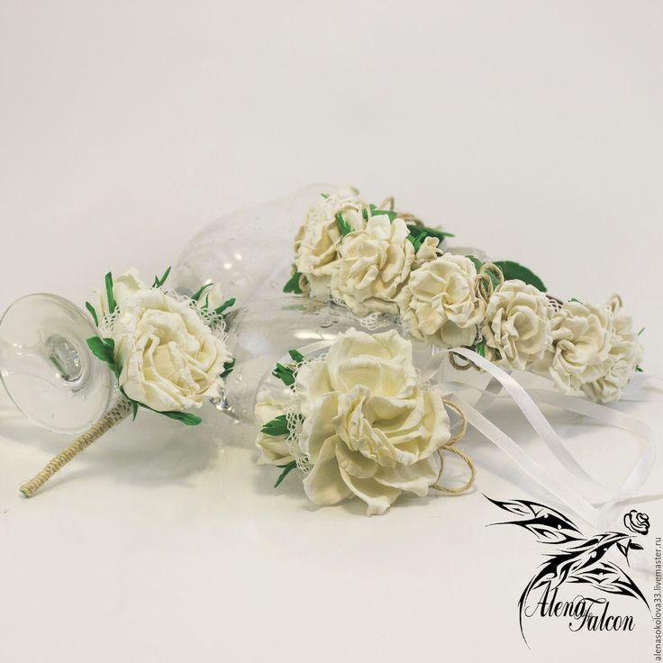 Купить Свадебный комплект ободок браслет бутоньерка белый зеленый рустик бохо - букет невесты