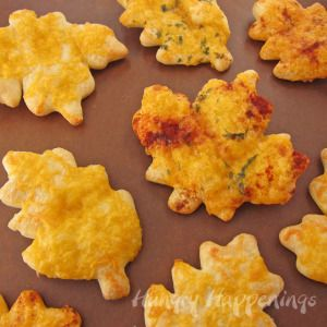 leaf shaped crescent rolls with shredded cheese, paprika, and parsley for Thanksgiving dinner copy
