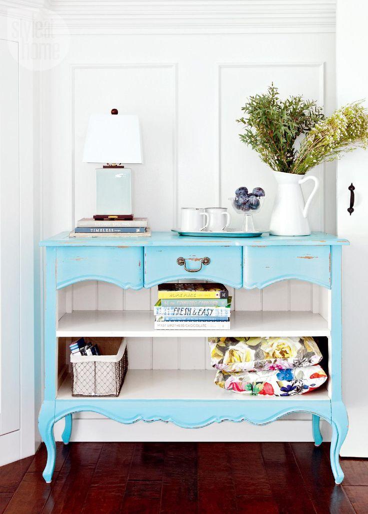 Jillian Harris's guest house: Pastel coloured console {PHOTO: Janis Nicolay}
