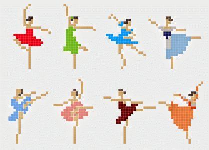 ♥Meus Gráficos De Ponto Cruz♥: Bailarinas em Ponto Cruz Fáceis de Bordar