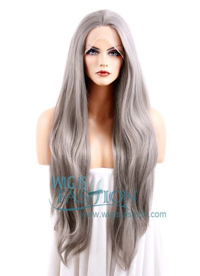 """18""""-28"""" Long Straight Silver Grey Lace Front Fashion Hair Wig"""