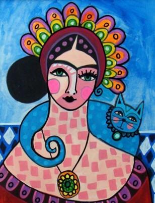 Mexican Folk Art  MEXICAN ART Frida Kahlo Art by HeatherGallerArt, $24.00