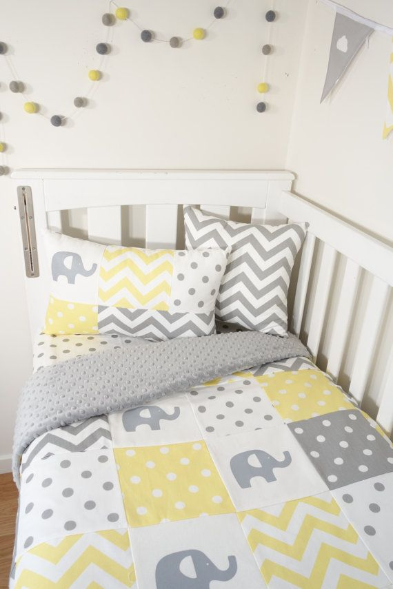 Patchwork nursery set Yellow and grey elephants by MamaAndCub