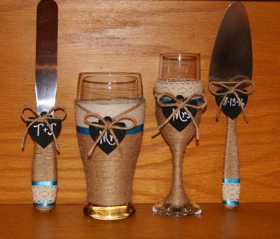 Country Western Wedding Cake Table Decor / by CarolesWeddingWhimsy, This Country Western Decoration, Country Western Champagne Flute and Beer GLass with Matching Serving set can be found https://www.etsy.com/listing/449301614/country-western-wedding-cake-table-deco