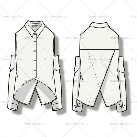 Women's Shoulder Cutout Blouse Fashion Flat Template