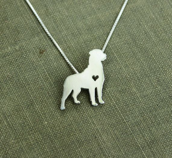 Rottweiler necklace, sterling silver hand cut pendant, with heart, tiny dog breed jewelry on Etsy, $45.00