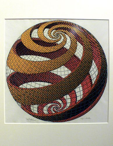 Sphere spirals, 1958, MC Escher