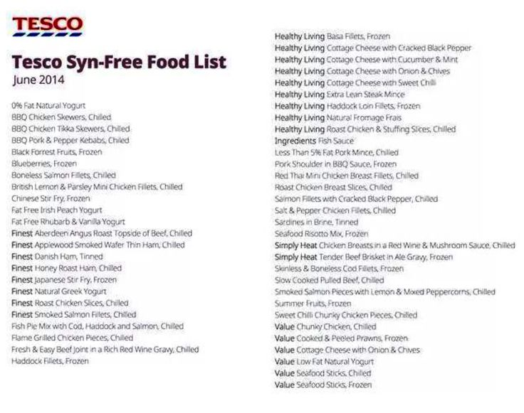 Slimming World Tesco Syn Free Food List Slimming World
