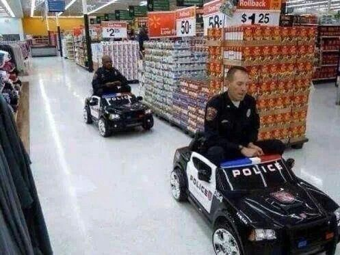 police man were assigned a call to watch for shoplifters, guess they decided to do it the fun way