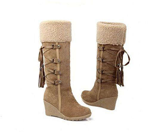 Damen warme neue Winterstiefel Ritter Stiefel Hang mit hohen Stiefeln Runde Schneeschuhe Schneestiefel boots In-Rohr-Schneeschuhe - http://on-line-kaufen.de/long-dream/damen-warme-neue-winterstiefel-ritter-stiefel-in