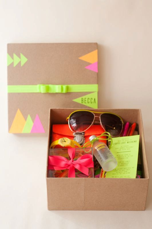 #Neon Bachelorette Weekend Box for guests--LOVE this!  Bold, Beautiful, & Unique!  Etsy Thursday: Neon Weddings  Join www.3d-memoirs.com every Thursday for fabulous #Etsy #wedding finds & inspiration for a unique wedding theme!