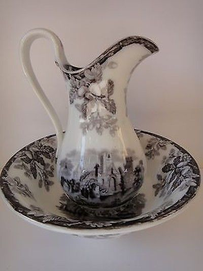 17 best images about pitcher bowl sets on pinterest auction pottery and water jugs. Black Bedroom Furniture Sets. Home Design Ideas