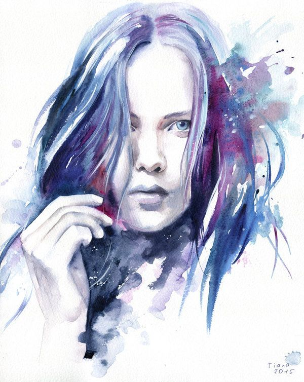 Missing you by Cora-Tiana on DeviantArt..Artwork by Tiana, 2015 watercolor, 32x40 cm