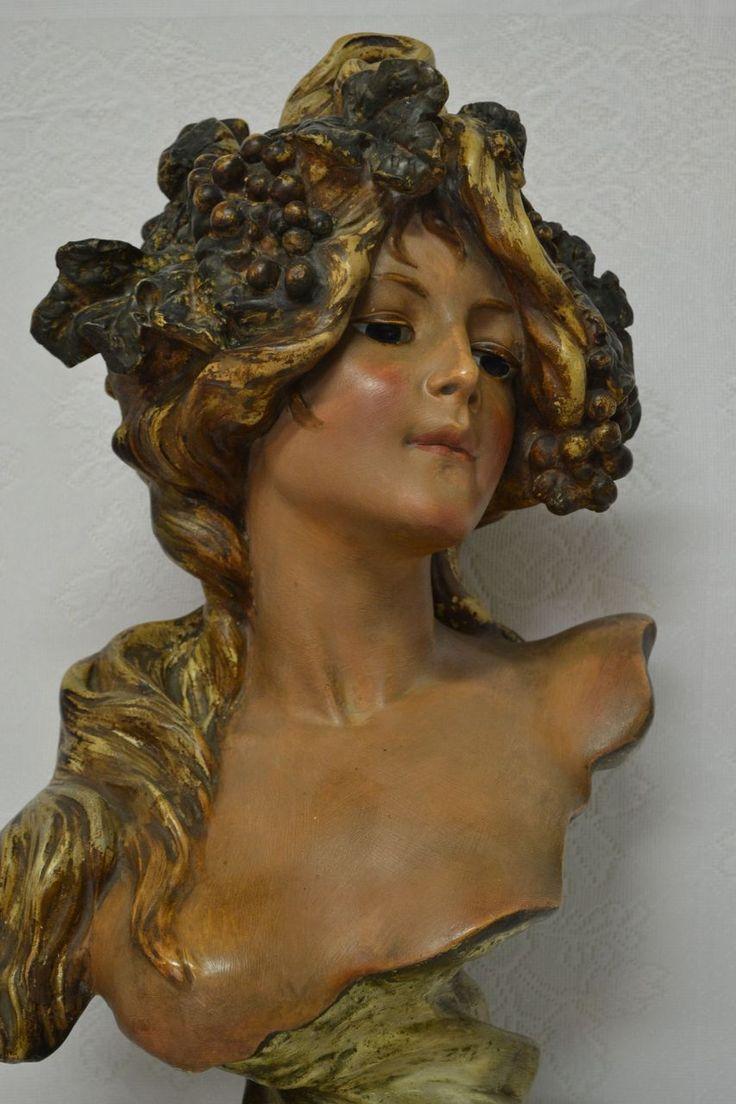 Exquisite Extremely Rare Antique French Art Nouveau Plaster Parlor Bust L'AUTOMNE