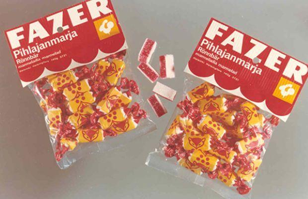 Fazer Pihlajanmarja. Tällainen myyntipakkaus oli käytössä vielä 1970-luvulla.