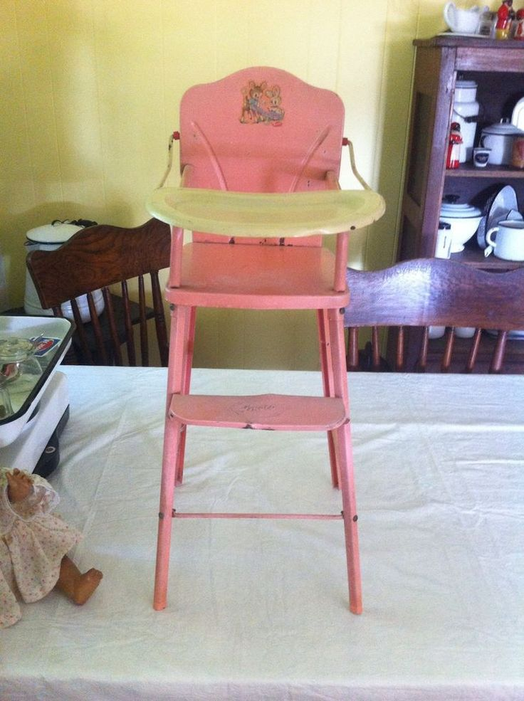 Vintage pink metal baby doll toy high chair