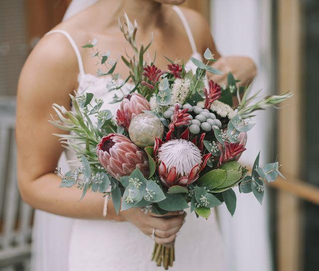Beautiful native bridal bouquet with protea, brunia, eucalyptus and kangaroo paw