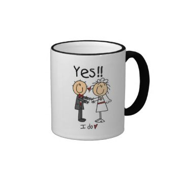 """A cute stick figure bride and groom design, perfect for anyone who is getting married or was just married, makes a great wedding gift too. Text reads """"YES!! I Do"""" on these stick figure bride and groom T-shirts, mugs, cards, stickers, keychains, postage stamps, and more! #wedding #bride #groom #bride #and #groom #wedding #tshirts #wedding #mugs #wedding #gifts #wedding #magnets #wedding #stickers #wedding #tote #bags #cute #wedding #funny #wedding #bride #and #groom #tshirts #newlywed ..."""