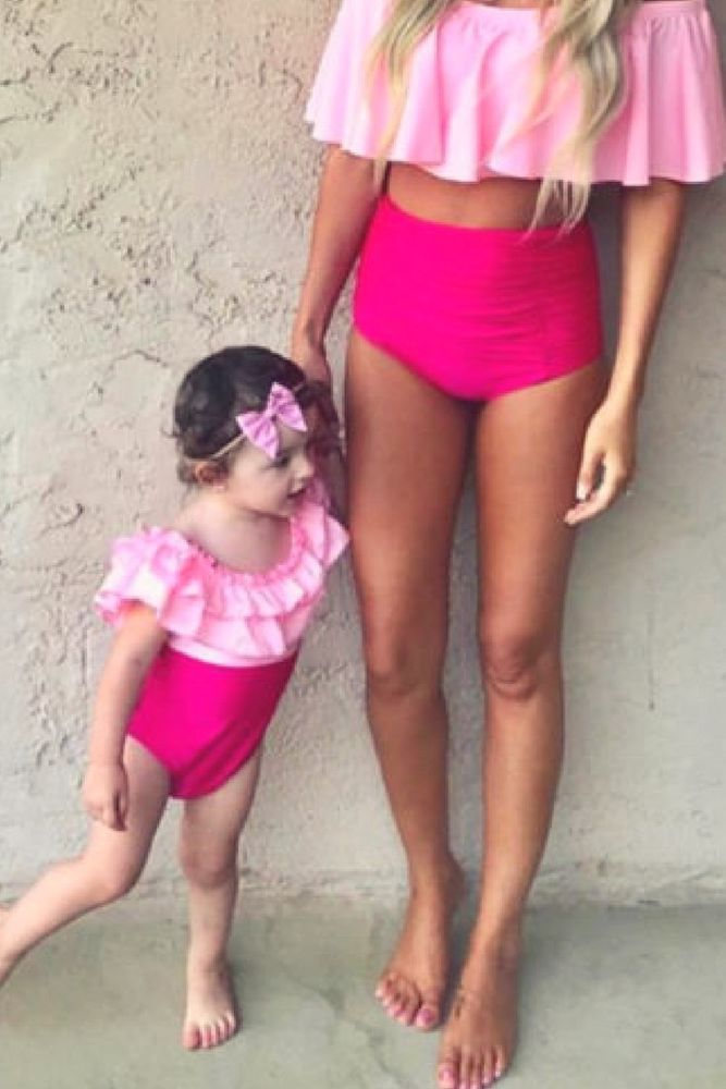 b6dd74fc7517d Mom and Daughter Matching Swimsuit. Mom and me High waist Tankini Hot Pink  SET #Unbranded #TwoPiece
