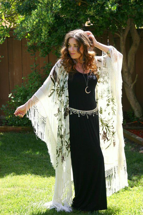 Vintage Gypsy Silk Velvet Burn Out Fringe Kimono by TealMoonVintage, $210.00